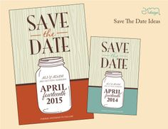 #MasonJar Wedding Save The Date. Country wedding invitation. Orange and Brown Wedding Save the Date.