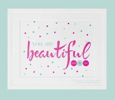 "You Are Beautiful - happy, spotty, art print, wall art, spots, polkadot, inspire, beauty, teal, pink, ready to ship, 8""x10"" on Etsy, $19.65 AUD"