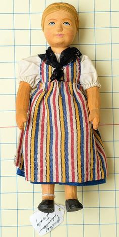 Early Swiss Wooden Doll with Original Clothing | eBay