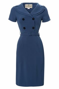 Collectif Clothing - 40s Rhonda Dress Georgette in Petrol blue