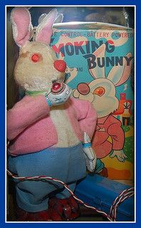 Vintage toy, smoking bunny