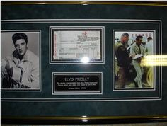 At £148.00  http://www.ebay.co.uk/itm/Elivis-Presley-Texaco-Gas-Station-Credit-Card-Receipt-MINT-MINT-Frame-LOA-/261091329452
