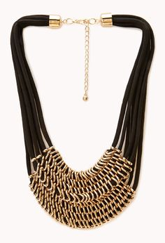 Striking Layered Chain Bib Necklace | FOREVER21 Accessories that are off the chain #Necklace #Rope #Accessories