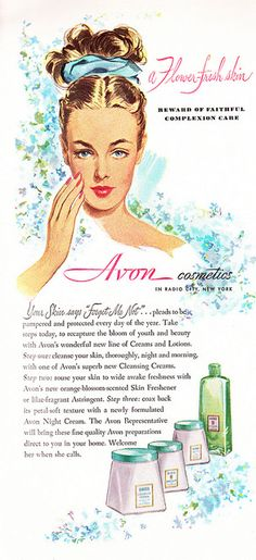 Avon Skin Care Products Ad, 1947. #vintage #1940s #beauty #ads