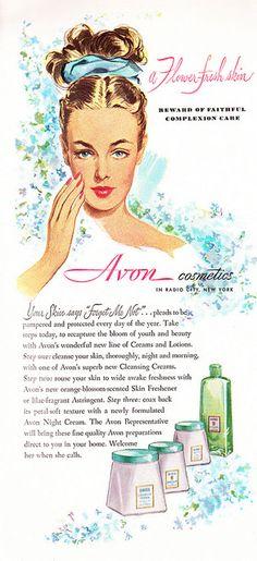 "1947 Avon Skin Care - ""A Flower-fresh skin - reward of faithful complexion care"" Published in Cosmopolitan, August 1947, Vol. 123, No. 2"