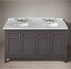 RH's Cartwright Double Vanity Sink:With clean lines and a timeless aesthetic, Cartwright makes a striking statement in any bath.