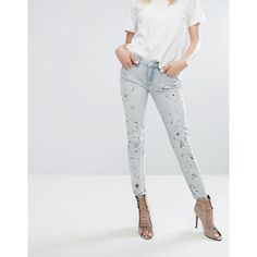 Blank NYC Skinny Jean with Paint Splash and Rips (£68) ❤ liked on Polyvore featuring jeans, blue, distressed boyfriend jeans, ripped blue jeans, ripped boyfriend jeans, blue jeans and skinny jeans