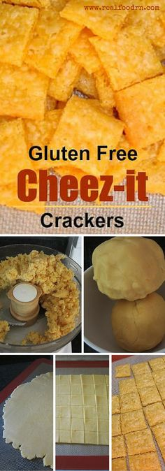 Gluten Free Cheez-it Crackers Betcha can apos t have just one No seriously these are one of our new favorite snacks I practically have to hide them from my kids Plus no MSG or gluten Patisserie Sans Gluten, Dessert Sans Gluten, Bon Dessert, Gluten Free Appetizers, Gluten Free Desserts, Dairy Free Recipes, Gluten Free Kids Snacks, Vegan Recipes, Wheat Free Recipes