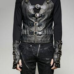 Black Studded Leather Steam Punk Rock Gauntlet Arm Warmers SKU-71102291