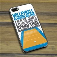 Volleyball iPhone/Galaxy Case Volleyball Is Where We Live (Stacked)  - This customizable protective case is the perfect accessory for any volleyball player's phone. Fits the iPhone 4, iPhone 4S, iPhone 5, iPhone 5S, Galaxy S3, and Galaxy S4.
