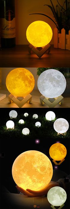 US$12.99 + Free shipping. 12cm Magical Two Tone Moon Lamp USB Charging Luna LED Night Light Touch Sensor Gift. Diameter Size: 10cm. Rechargeable battery and USB charging. #shopping #art #design #gifts #ideas #decor #homedecor #diy #style