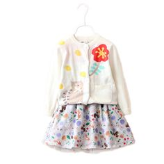 baby girl clothing sets 2017 autumn baby girl clothes top cartoon cat printed kids knit girl cardigan+floral printed tutu skirt
