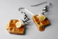 Banana Foasters Waffle Earrings, Miniature Food Jewelry, Polymer Clay Food Earrings. $14.00, via Etsy.