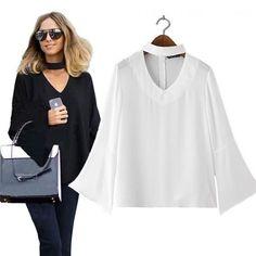 Women Blouse Chiffon Long Sleeve V Neck Loose Casual Top Shirt Plus Size Lj