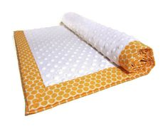 Sherbert Orange Polka Dot Baby Blanket Neutral  by LilBitsofSugar, $36.00