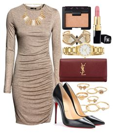 """""""Untitled #216"""" by foreverdreamt ❤ liked on Polyvore featuring BCBGMAXAZRIA, Mudd, H&M, Kate Spade, Christian Louboutin, Forever 21, Yves Saint Laurent, NARS Cosmetics and Chanel"""