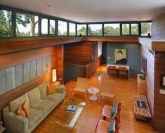 "All modern homes do not have floor to ceiling windows throughout the house. Clerestory Windows in Modern Homes: Minimal, open plan and ""lots of glass"" are Mid Century Living Room, Mid Century Decor, Mid Century House, Mid Century Modern Design, Modern House Design, Modern Houses, Style At Home, Living Vintage, Mid-century Interior"