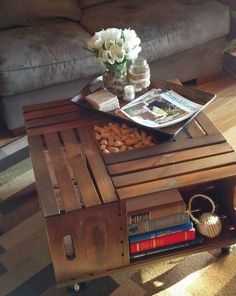DIY Vintage Chic: Vintage Wine Crate Coffee Table Use crates to make a coffee table with lots of storage. Just attach the crates to a large board and add casters