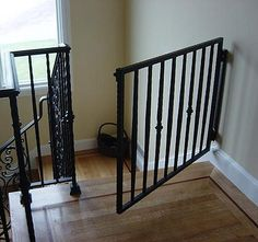 stairway gates - custom wrought iron staircase safety gate - JD Stairs via Atticmag Wrought Iron Staircase, Stairs, Custom Baby Gates, Apartment Safety, House Design, Wrought Iron Gates, Home Goods, Stairways, Home Decor