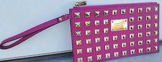 NWT MICHAEL KORS SAFFIANO STUD zip Clutch Wristlet Purse Pink/Gold