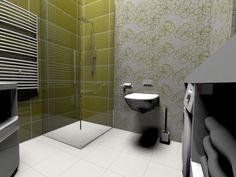Biało - zielona łazienka