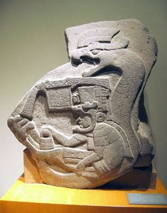 Olmec (circa 1400-400 BCE) Monument 19, from La Venta, Tabasco. The earliest known representation of a feathered serpent in Mesoamerica.