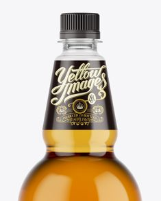 Clear Plastic Gold Beer Bottle Mockup. Preview (Close-Up)