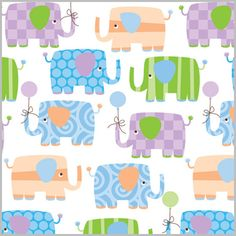 Cute and colorful Baby Elephants Giftwrap!  #Elephant #Baby #Giftwrap