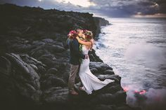 Trekking to the top of Kilauea—an active volcano on the Big Island of Hawaii—barefoot with photographer Jenna Lee on August 11, the two newlyweds brought flowers as an offering to Pele (the Hawaiian goddess of fire) and were definitely rewarded by the deity.