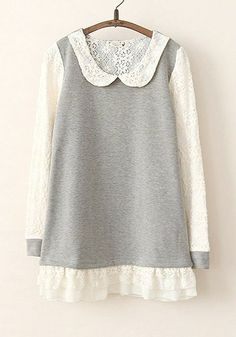 Idée pour s'inspirer et transformer des pulls avec de la dentelle. http://www.cichic.com/grey-patchwork-lace-long-sleeve-short-cotton-dress.html