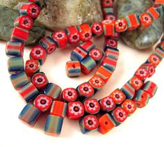100 TINY Orange Millefiori Glass Flower Beads by EthnicBeadShop, $5.65