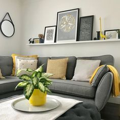 Happy Monday everyone! As ever mustard and grey combining to great effect here. A great colour co-ordinated living room and the feature… Cozy Grey Living Room, Mustard Living Rooms, Grey And Yellow Living Room, Decor Home Living Room, Living Room Goals, Living Room Colors, Living Room Grey, Living Room Decor Yellow, Home Decor