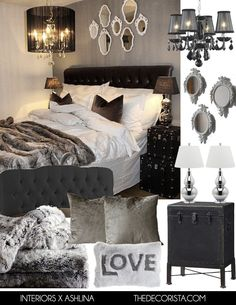 Top 60 Mejores Ideas Dormitorio principal - Home Luxury Glam Bedroom, Bedroom Black, Trendy Bedroom, Cozy Bedroom, Bedroom Colors, Home Decor Bedroom, Master Bedroom, Bedroom Ideas, Bedroom Romantic