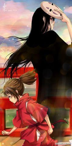 Ghibli - Le Voyage de Chihiro (Spirited Away) Miyazaki - Kaonashi & Chihiro Fan Art Film Manga, Film Anime, Anime Manga, Anime Art, Hayao Miyazaki, Totoro, Studio Ghibli Art, Studio Ghibli Movies, Awesome Anime