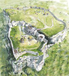 Wilderness Castle Ruins bluff hill cliff campsite – home acssesories Fantasy City, Fantasy Castle, Fantasy Kunst, Fantasy Places, Fantasy Map, Medieval Fantasy, Fantasy Artwork, Fantasy World, Environment Concept Art