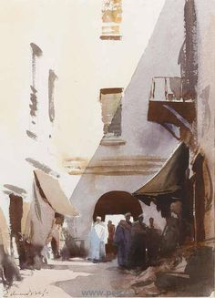Edward Seago (1910 — 1974, UK) an Archway Essaouira Morocco. watercolour.