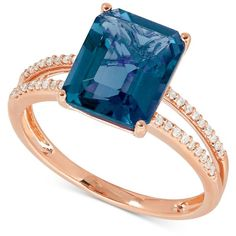 London Blue Topaz (4 ct. t.w.) and Diamond (1/10 ct. t.w.) Ring in 14k... ($753) ❤ liked on Polyvore featuring jewelry, rings, rose gold, round diamond ring, pink gold rings, diamond rings, 14k ring and london blue topaz ring
