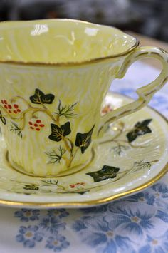 """Staffordshire, England """"Old English Oak"""" Butter Yellow with Ivy Vines Teacup"""