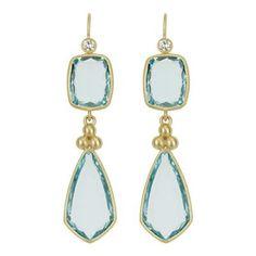 SLANE Double Drop Aquamarine Earrings with Diamonds in Yellow Gold