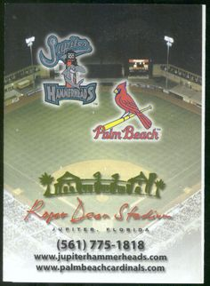 CARDINALS 2003 JUPITER HAMMERHEADS ANNETT BUS BASEBALL POCKET SCHEDULE FREE SHIP #SCHEDULE