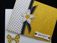 Handmade Thank You Card Embossed Stampin Up Butterfly | eBay