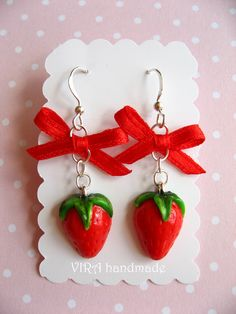 Kawaii cute realistic strawberry with bowknot earrings