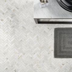 Brick Tiles, Stone Tiles, Marble Herringbone Tile, Marble Tiles, Herringbone Pattern, Best Bathroom Flooring, Bathroom Wall, Condo Interior Design, Traditional Tile
