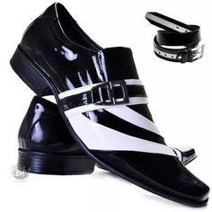 Sapato De Verniz Mais Cinto Social Masculino 100 Couro Preto
