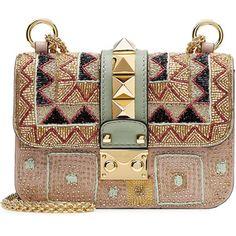 Valentino Lock Embellished Leather Shoulder Bag
