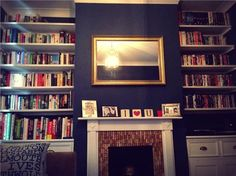 An inspirational image from Farrow and Ball - drawing room blue for lounge/dining room Blue Living Room Decor, Living Room Shelves, Living Room Color Schemes, Living Room Paint, New Living Room, Living Room Designs, Small Living, Navy Blue Rooms, Teal Rooms