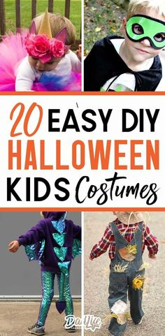 20 Easy DIY Halloween Costumes for Kids that will make parents pocket books smile. Step by Step instructions for DIY Halloween Costumes for Kids. Mom Costumes, Monster Costumes, Diy Halloween Costumes For Kids, Family Costumes, Halloween Couples, Group Costumes, Costume Ideas, Diy Toddler Costume, Homemade Costumes For Kids