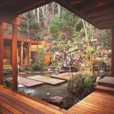 Garell House, Oregon by David Hertz: garden waterfall.