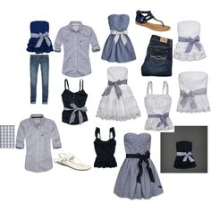 Navy blue and white....add a bow on anything and its adorable!!! Next family photo idea?