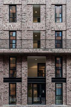 Geometric shapes modern architecture andres gallardo captures the bold hues of la muralla roja Detail Architecture, Modern Architecture House, Architecture Plan, Residential Architecture, Facade Design, Exterior Design, Building Facade, Amsterdam, Brickwork